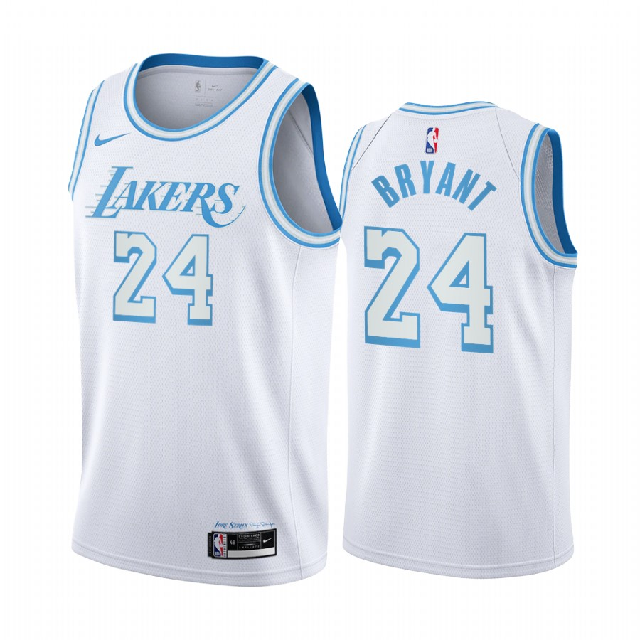 Kobe Bryant #24 Los Angeles Lakers White City Edition New Blue Silver Logo 2020-21 Jersey