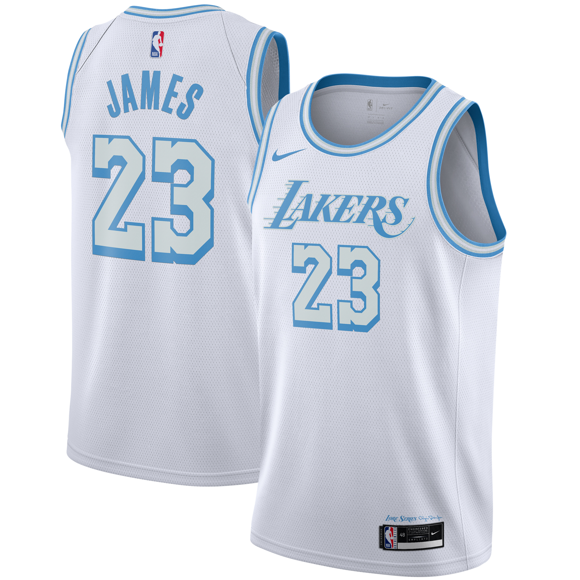 LeBron James #23 Los Angeles Lakers 2021 White City Edition ...