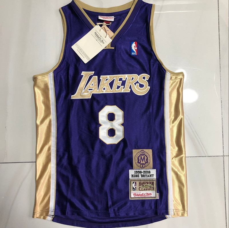 Kobe Bryant #8 Los Angeles Lakers Hardwood Classics Throwback Hall of Fame Jersey